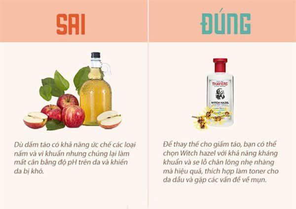 Dấm táo có tác dụng diệt nấm và vi khuẩn nhưng nếu lạm dụng có thể làm da khô