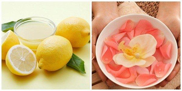 Chăm sóc da mụn bằng nước hoa hồng và chanh